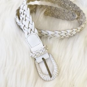 """White Leather Braided Belt Women's Small 32"""""""